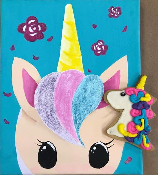 Unicorn Cookie Decorating & Unicorn Face Canvas Painting