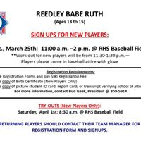 2017 Reedley Babe Ruth Registrations