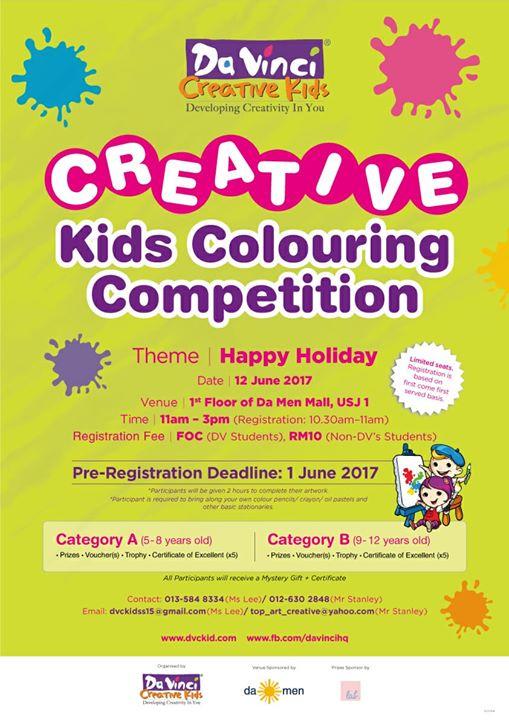 Davinci Coloring Contest 2017 At Da Men Usj Subang Jaya