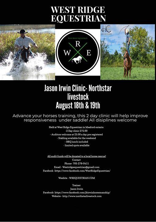 Jason Irwin Clinic at West Ridge Equestrian, Meaford
