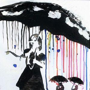 ArtNight Banksy Frau mit Schirm am 28062019 in Stuttgart