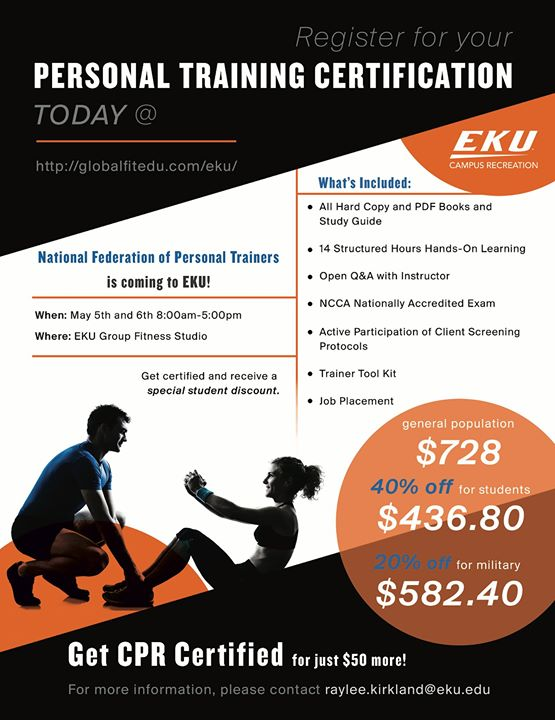 Personal Training Certification At Eku Campus Recreation Richmond