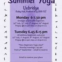 Tuesday evening summer yoga in the heart of Uxbridge