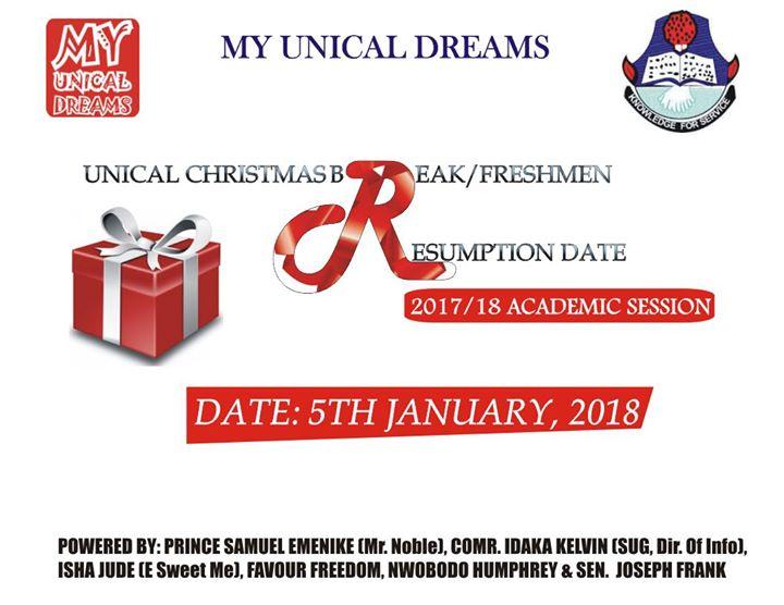 UNICAL Christmas Break/Freshmen Resumption Date 2017/18 at ...