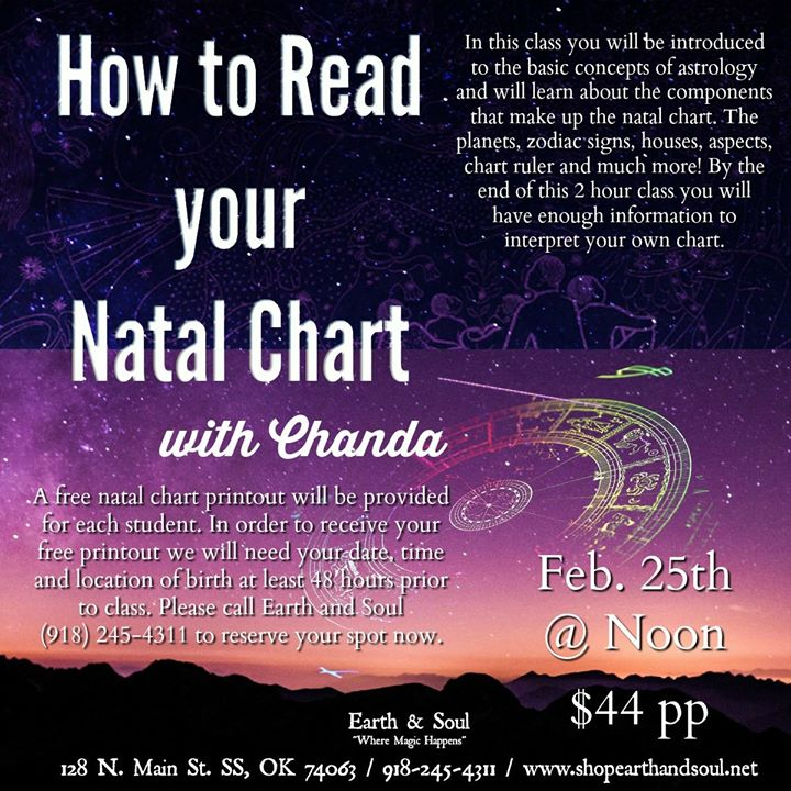 How To Read Your Natal Chart With Chanda At Earth And Soul Sand Springs