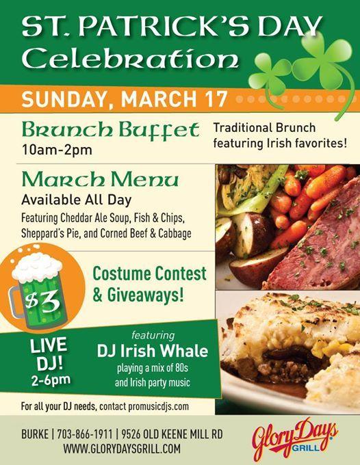 Celebrate St Patricks Day at Glory Days Grill of Burke