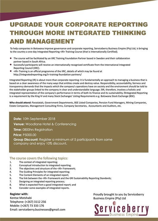 Integrated Reporting Training Course at Woodlane Hotel, Gaborone