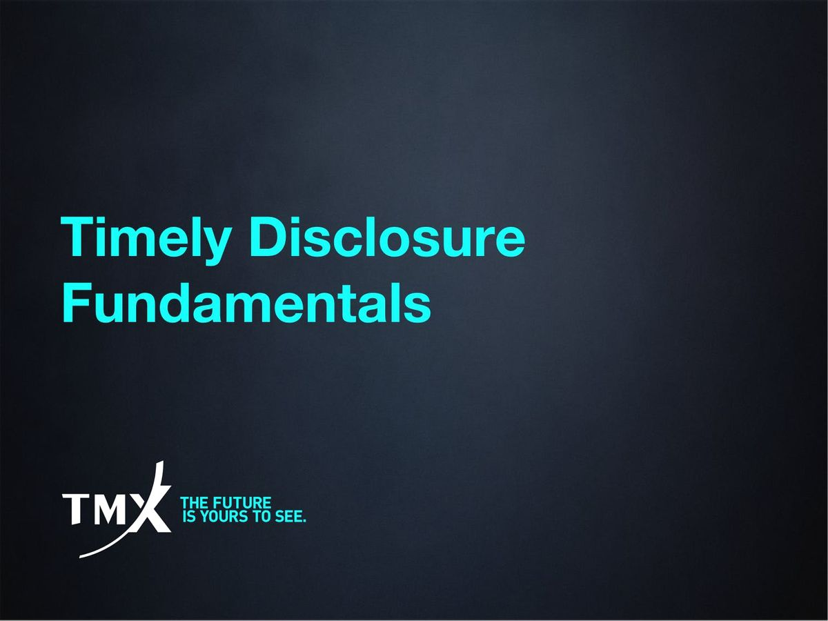 Timely Disclosure - Toronto