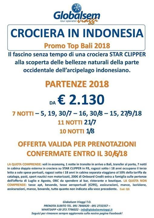 Estate 2018 Promo Top Bali Crociera in Indonesia