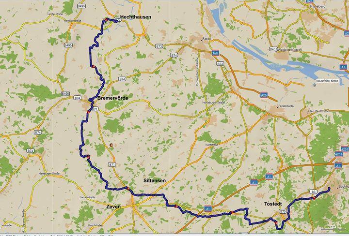 Radwanderung auf dem Oste-Radweg                   115 km