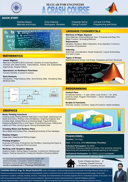 Workshop On MATLAB for Engineers at Ziauddin University Faculty of