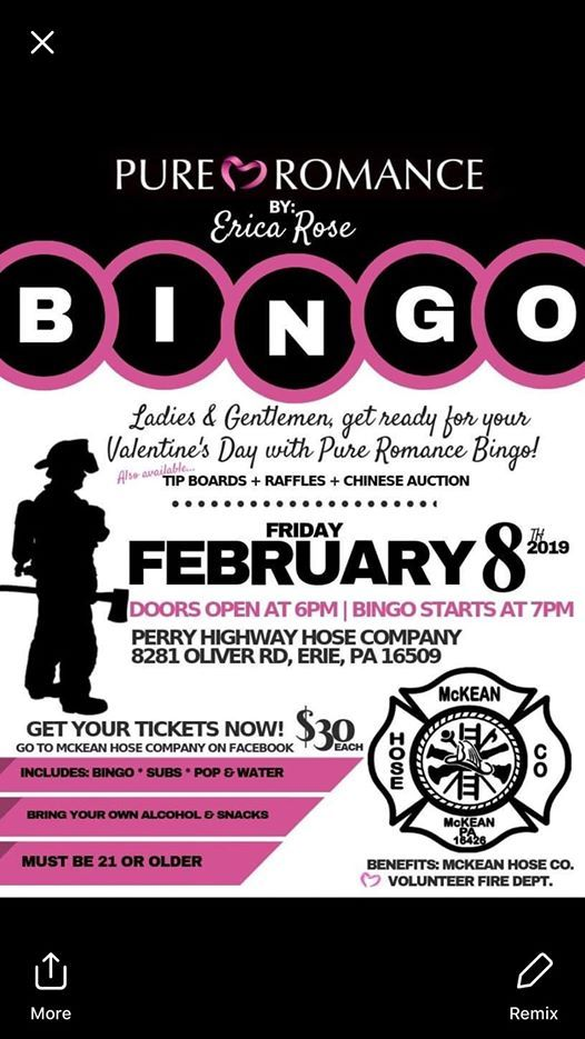 Pure Romance By Erica Rose Bingo Benefiting Mckean Hose Company At Perry Highway Hose Co 8281 Oliver Road Erie Pennsylvania 16509 Erie
