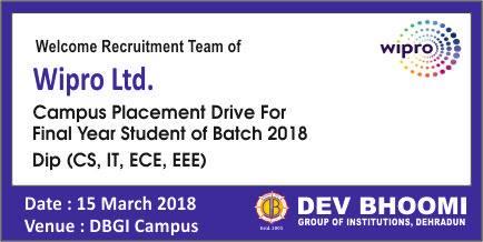 Wipro Ltd Pool Campus Drive at DBGI Dehradun on 15th March 18