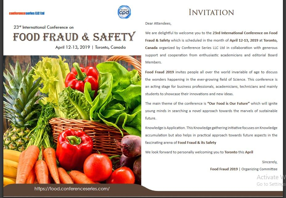 23rd International Conference on Food Fraud & Safety (CSE) A
