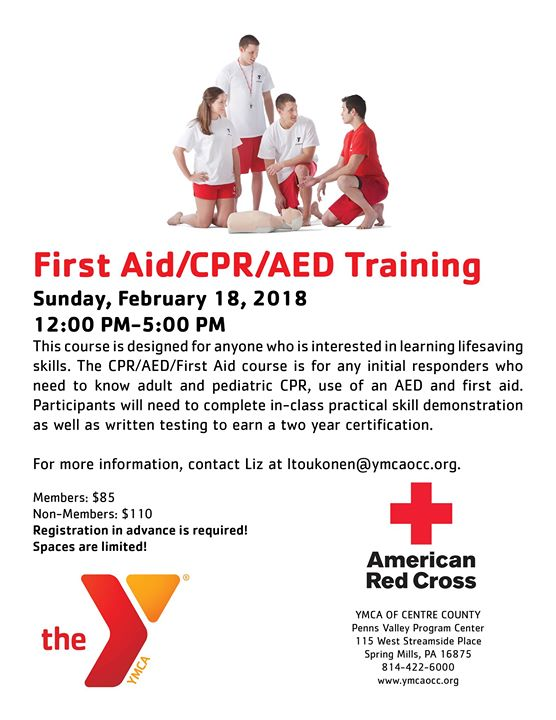 First Aidcpraed Training At Penns Valley Ymca Spring Mills