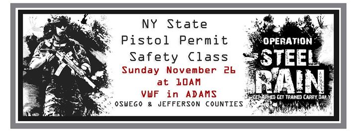NY State Pistol Safety Class - Jeff/Oswego County at Adams