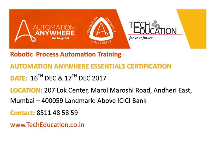 Automation Anywhere Essentials Certification Rpa At 207 Lok Center