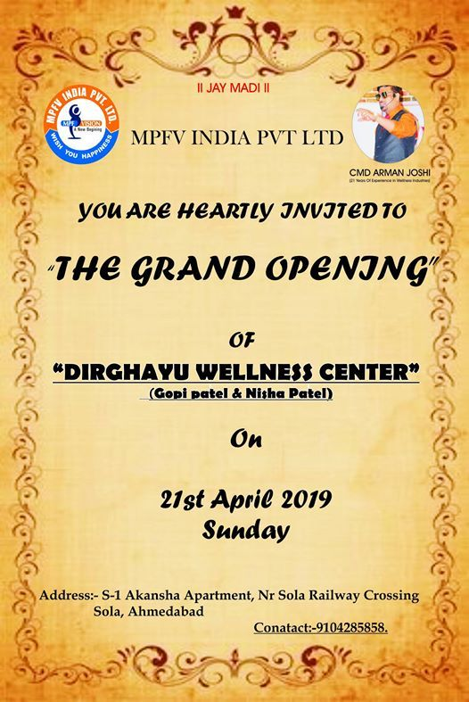 Grand Opening of  Dirghayu Wellness Center