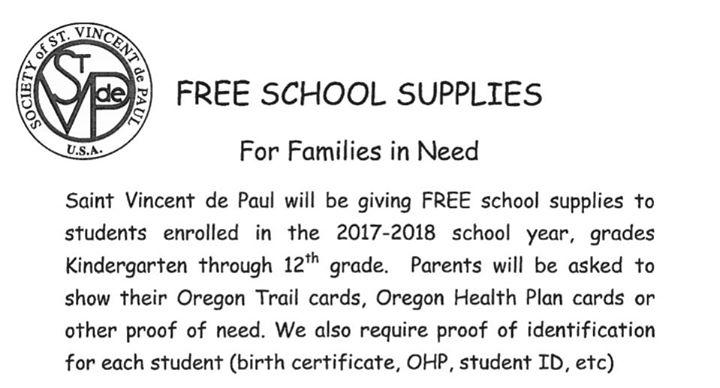 Free School Supplies At Saint Vincent De Paul Medford Oregon Medford