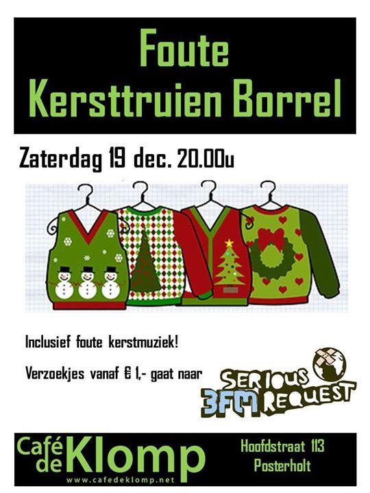 Foute Kersttrui Borrel.Seriousrequest15 Foute Kersttruien Borrel At Cafe De Klomp Posterholt