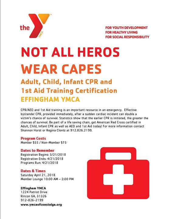 Cpr Aed 1st Aid Certification At Effingham Ymca Rincon