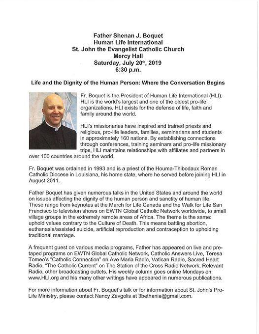 Human Life International at Saint John the Evangelist