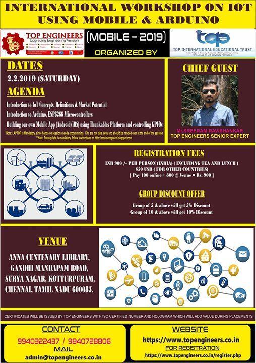 International Workshop on Iot Using Mobile & Arduino