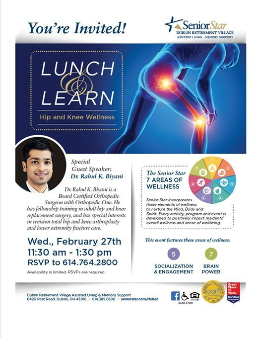 Lunch and Learn Series Hip and Knee Wellness at Senior Star at