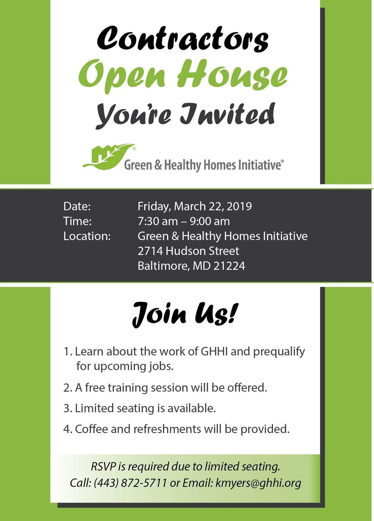 Green & Healthy Homes Contractor Open House