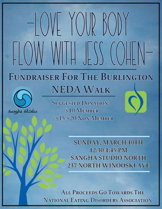 Love Your Body Flow fundraiser for the Burlington NEDA walk