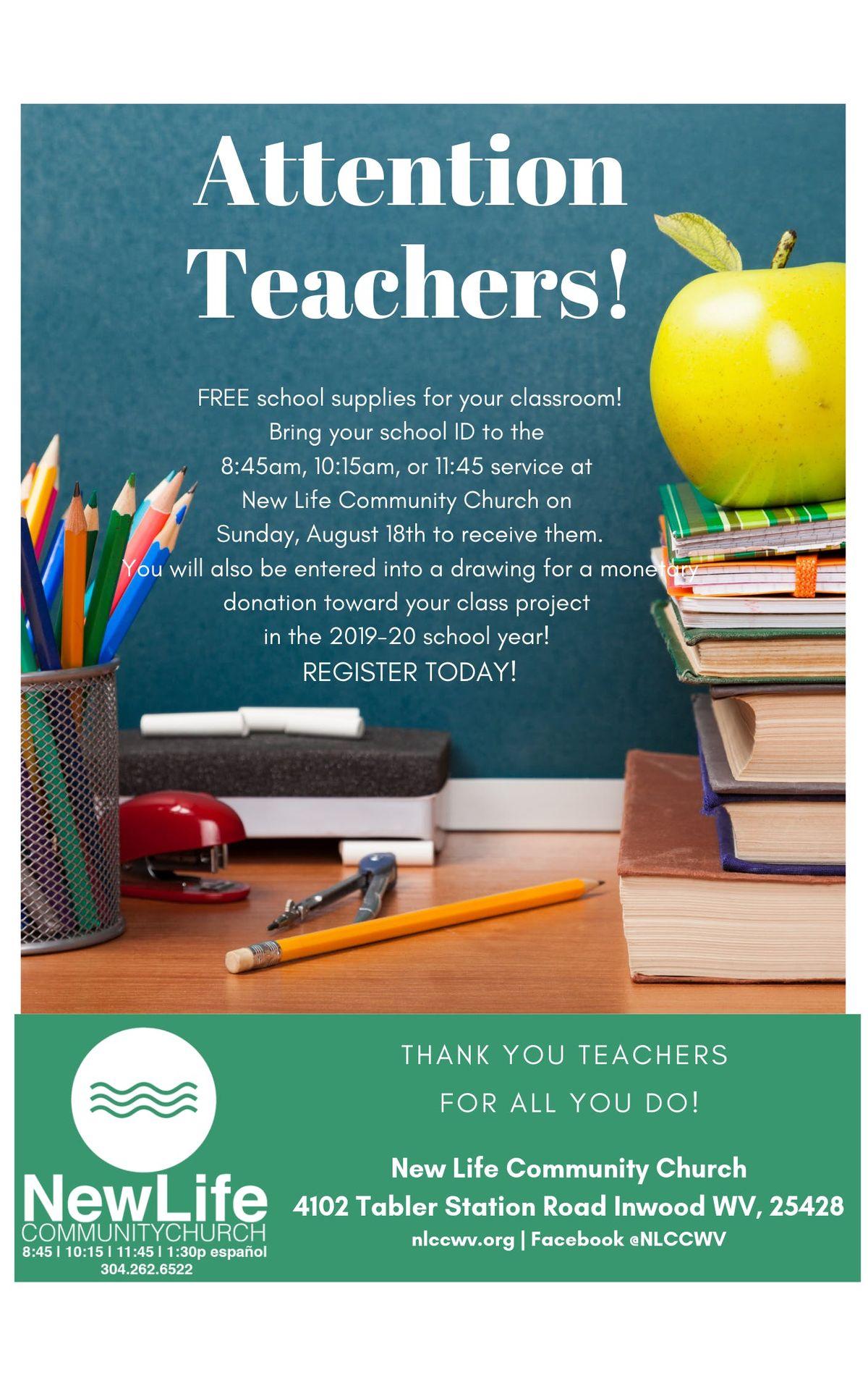 Teachers Appreciation Sunday - Free School Supplies! at New