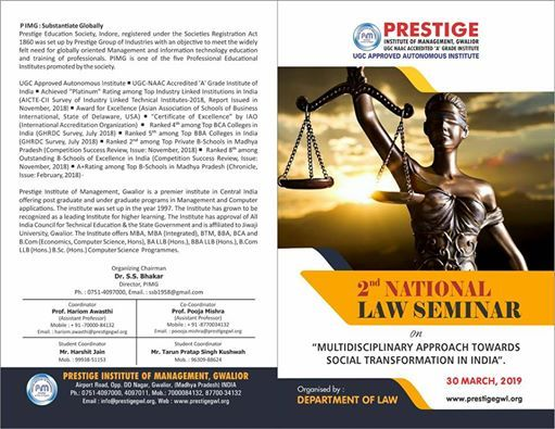 2nd National LAW Seminar on Multidisciplinary approach towards social transformation in India