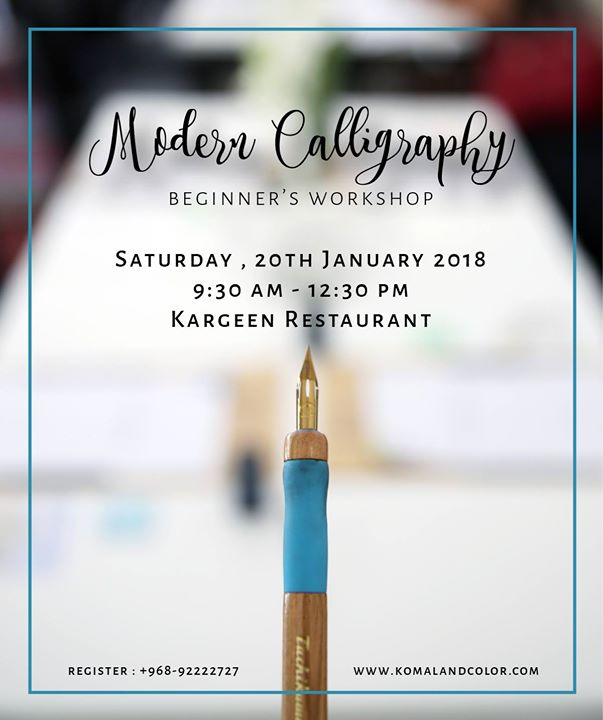 Modern Calligraphy Workshop at Kargeen Cafe, Muscat