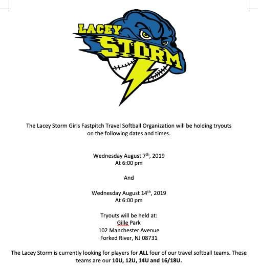 Lacey Storm Tryout #1 at Gille Park, Forked River