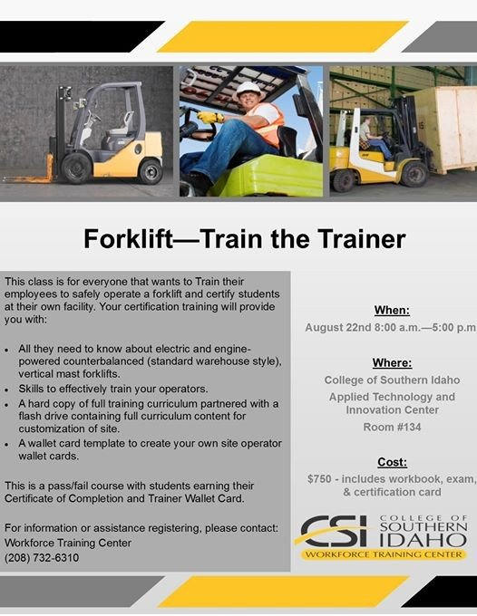 Forklift Train The Trainer At College Of Southern Idaho Workforce