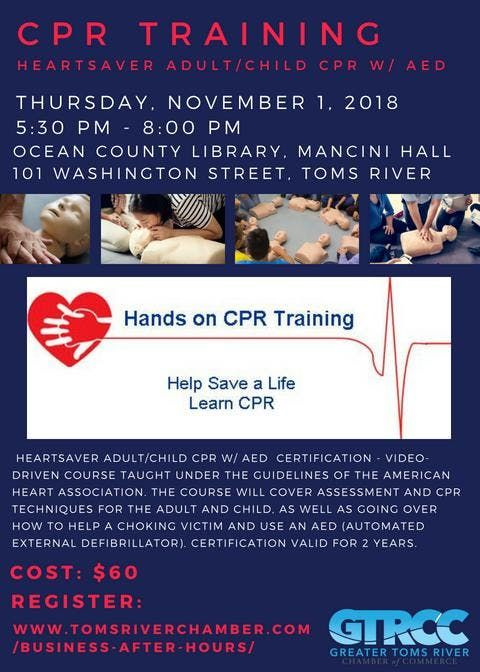 CPR Training - Heartsaver Adult/Child CPR W/ AED Certification at ...