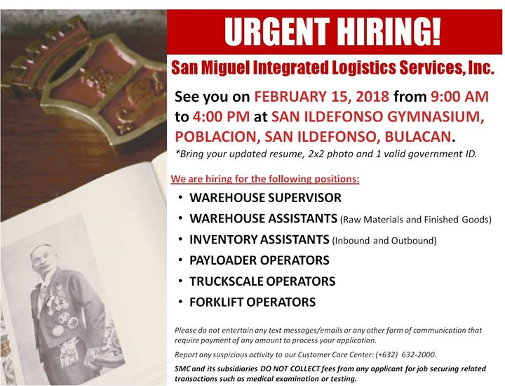 San Miguel Integrated Logistics Services Inc Job Fair At Mayor Cg