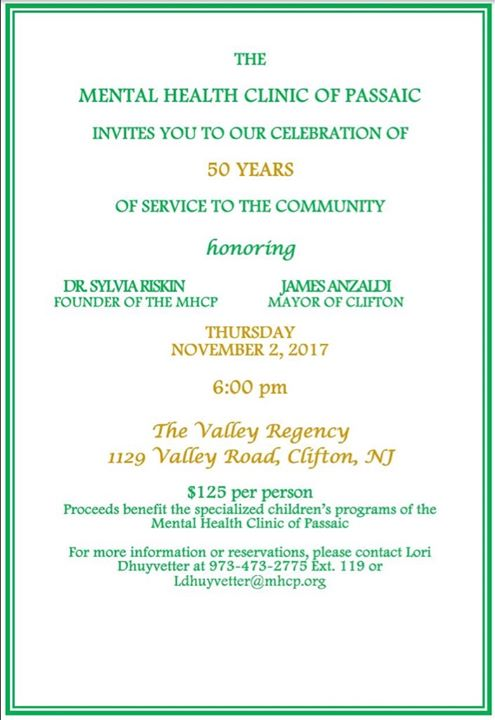 Mental Health Clinic Of Passaic 50 Years Celebration At Valley