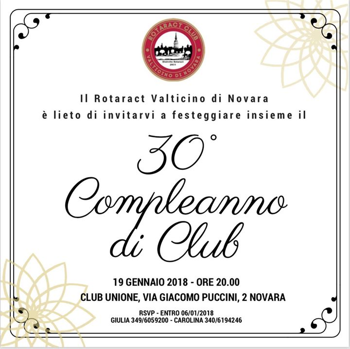 Buon Compleanno Rotaract At Rotaract Val Ticino Di Novara Novara
