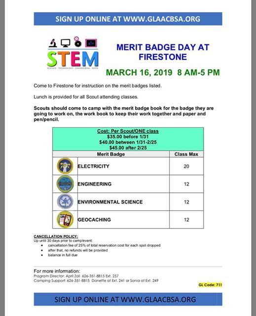 S T E M  Merit Badge Day 2019 at Firestone Scout Reservation, California