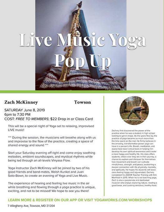 Live Music Yoga Pop Up at YogaWorks Towson, Towson
