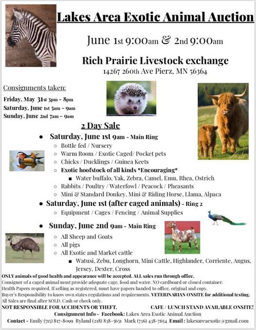 Lakes Area Exotic Animal Auction at Rich Prairie Livestock