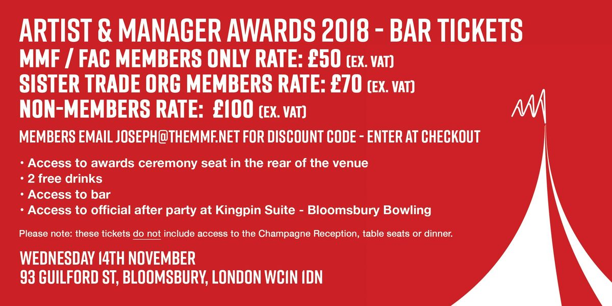 Artist & Manager Awards 2018 - Drinks Only  Bar Tickets
