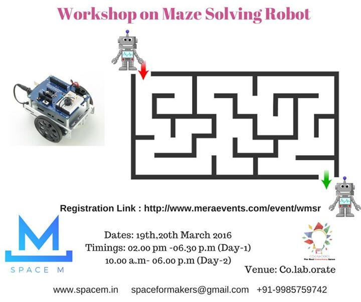 Workshop on maze solving robot at co lab orate hyderabad
