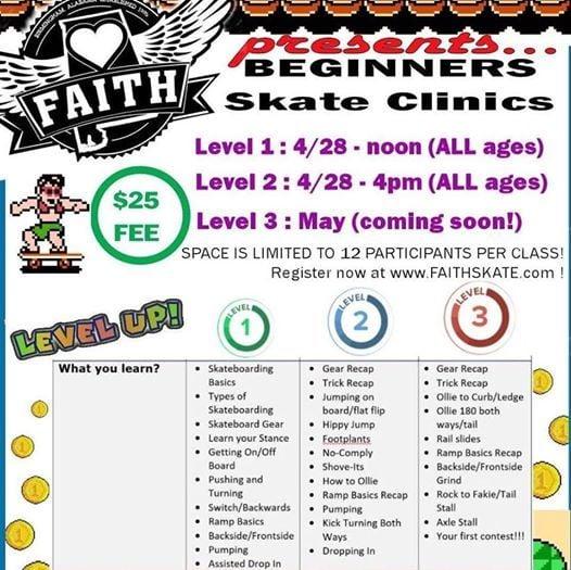 Intro to skateboarding clinic Level 1