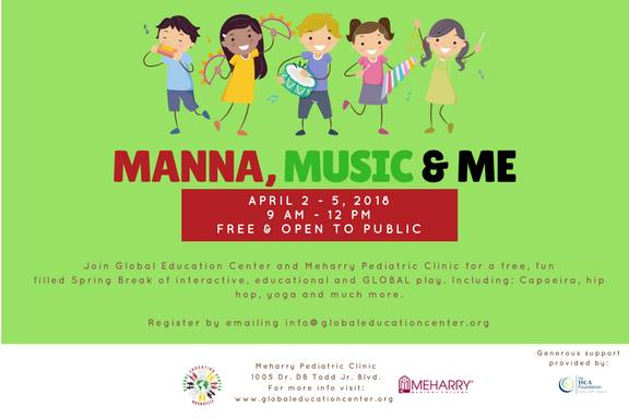 manna, music & me! spring break camp at global education center