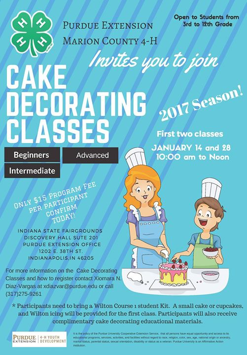 Cake Decorating Class at Purdue Extension - Marion County ...