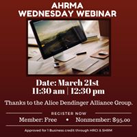AHRMA Wednesday Webinar &quotWhy They Hate HR&quot