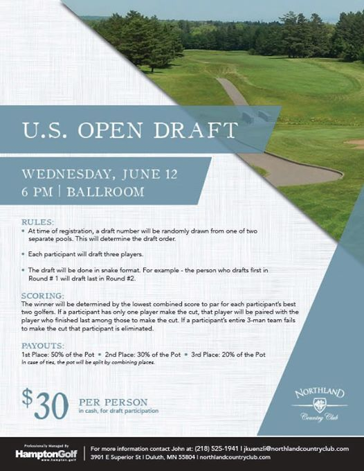 U S  Open Draft at Northland Country Club, Duluth