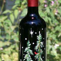 Winter Wine Bottle Lamp Painting